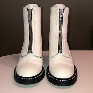 Rag and Bone White Cannon Combat boots